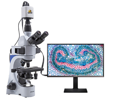 Microscope with connected HDMI microscope camera